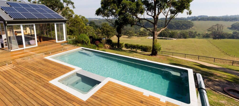 Infinity edge swimming pool offers infinity views
