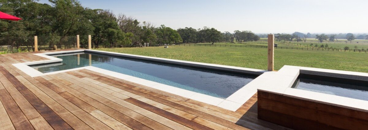 Donehues Leisure Compass fibreglass pools Fastlane with a timber decking